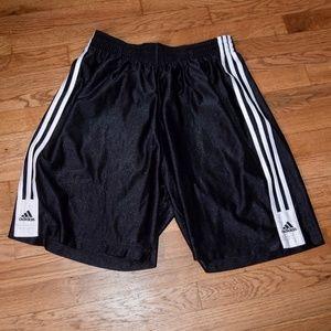 Adidas Black Three Stripe Basketball Shorts.